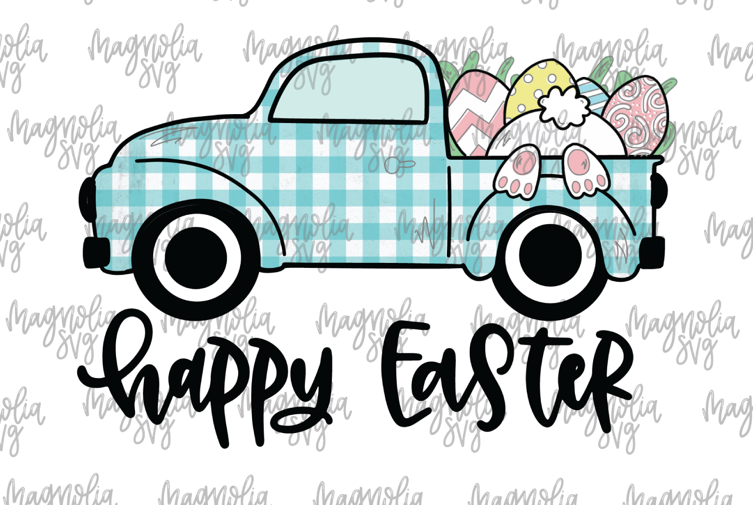 Happy Easter Vintage Truck Graphic for Sublimation example image 1