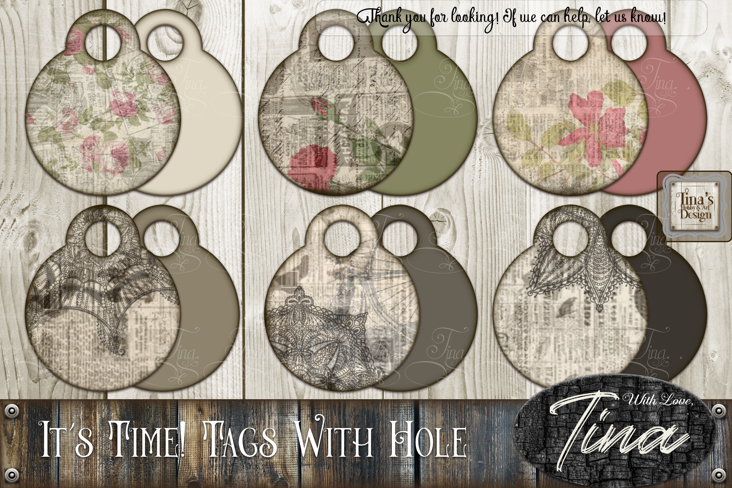 It's Time Newsprint Roses Lace Doily Tags example image 1