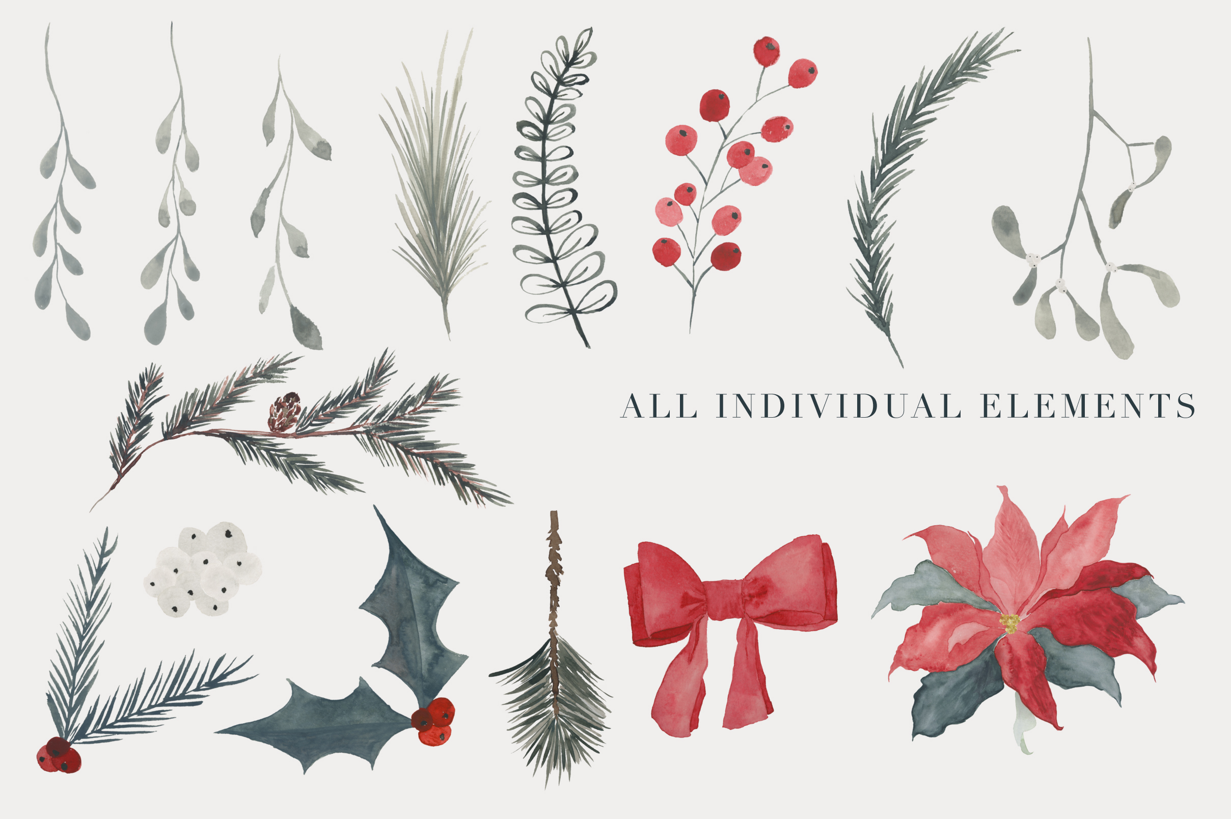 Christmas Watercolor clipart example image 3