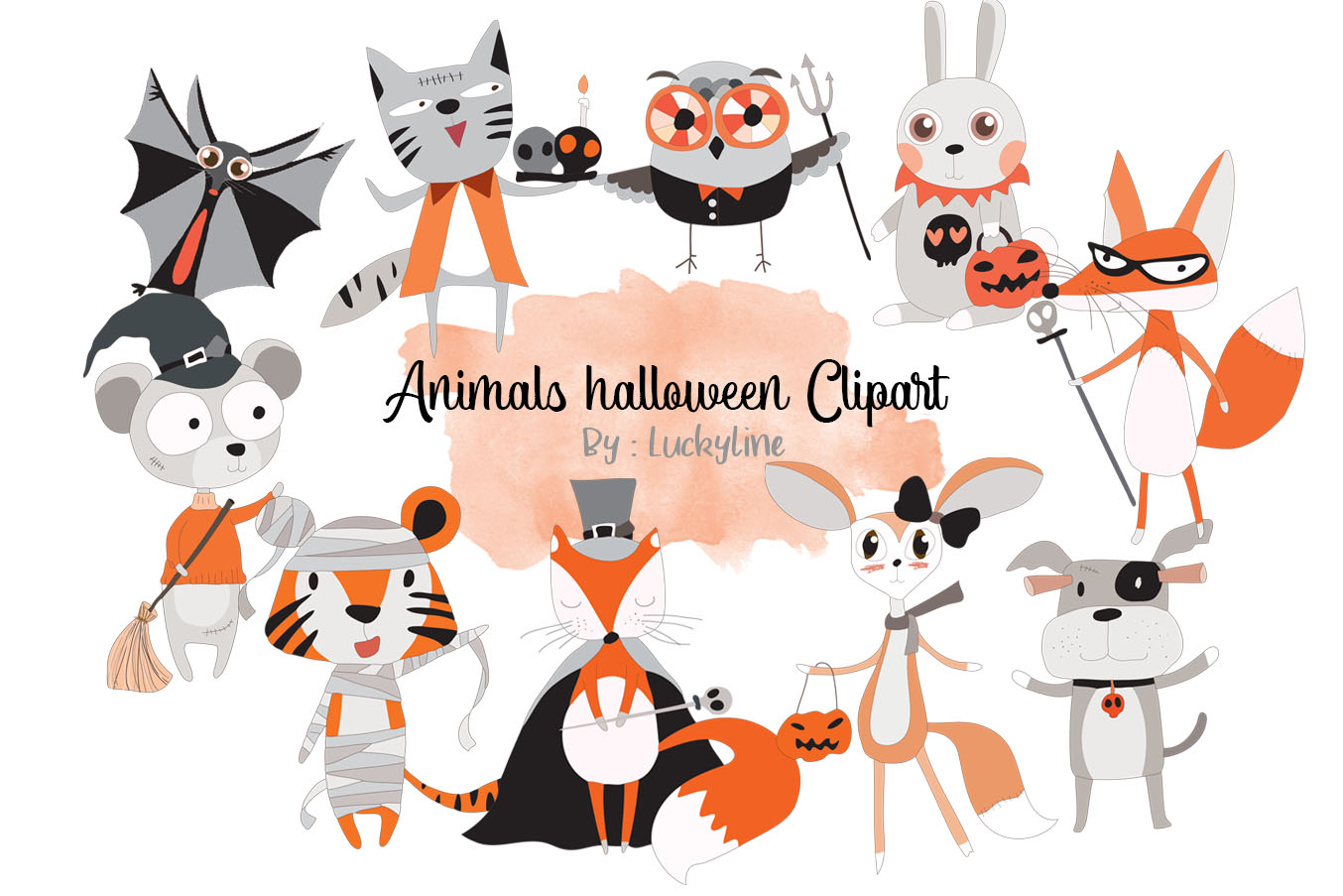 Animals Halloween clipart example image 1