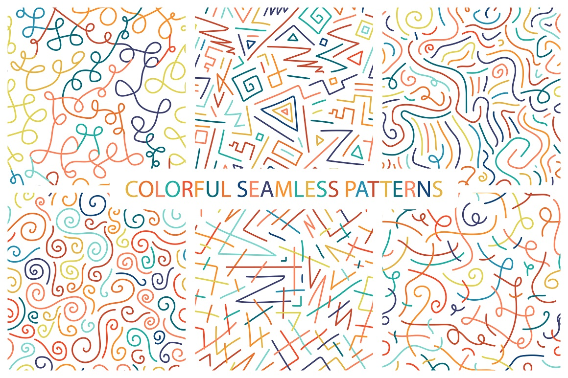 Colorful seamless patterns. example image 1