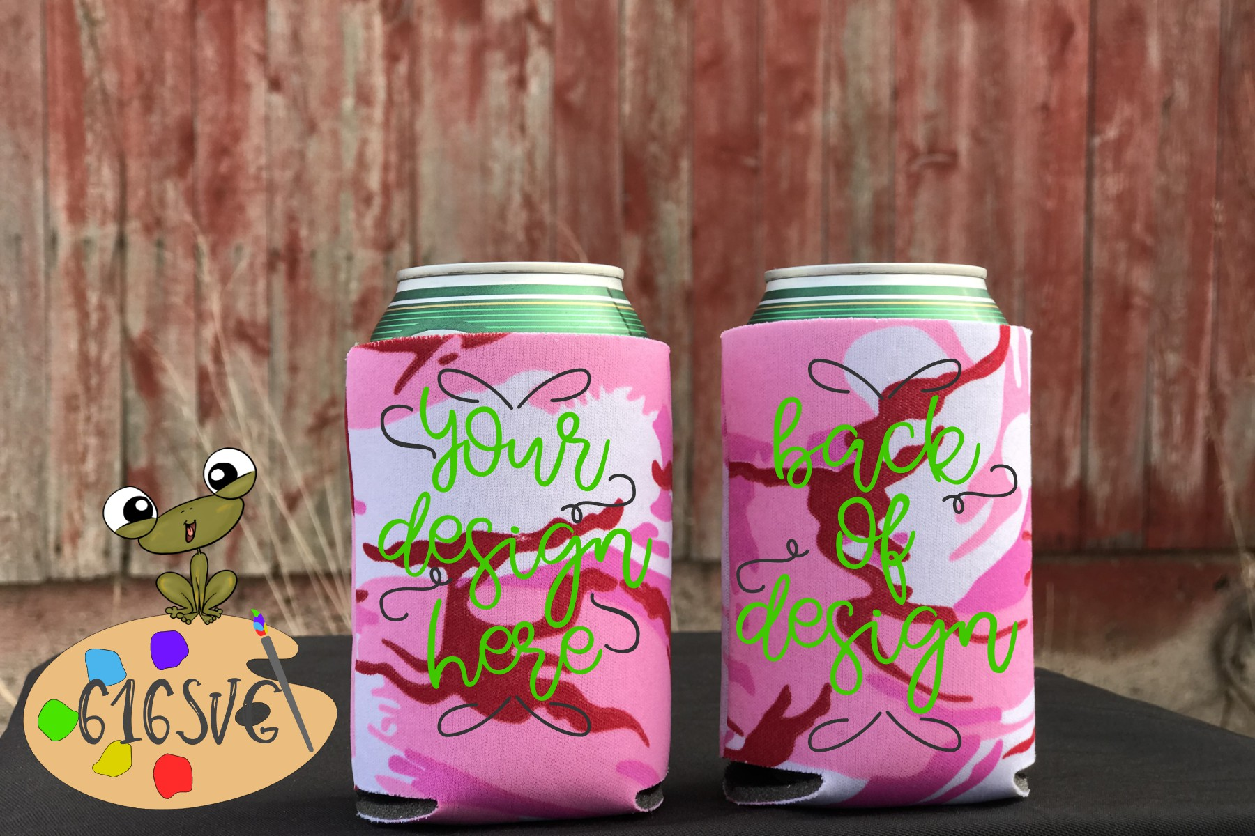 Pink Camo Pink Camouflage Can Cooler Mockup example image 2