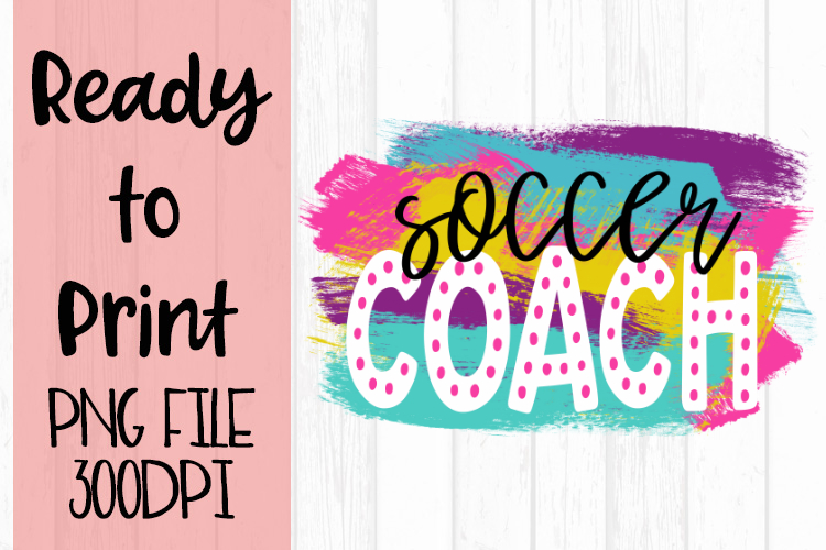 Soccer Coach Bright Preppy Design Ready to Print example image 1