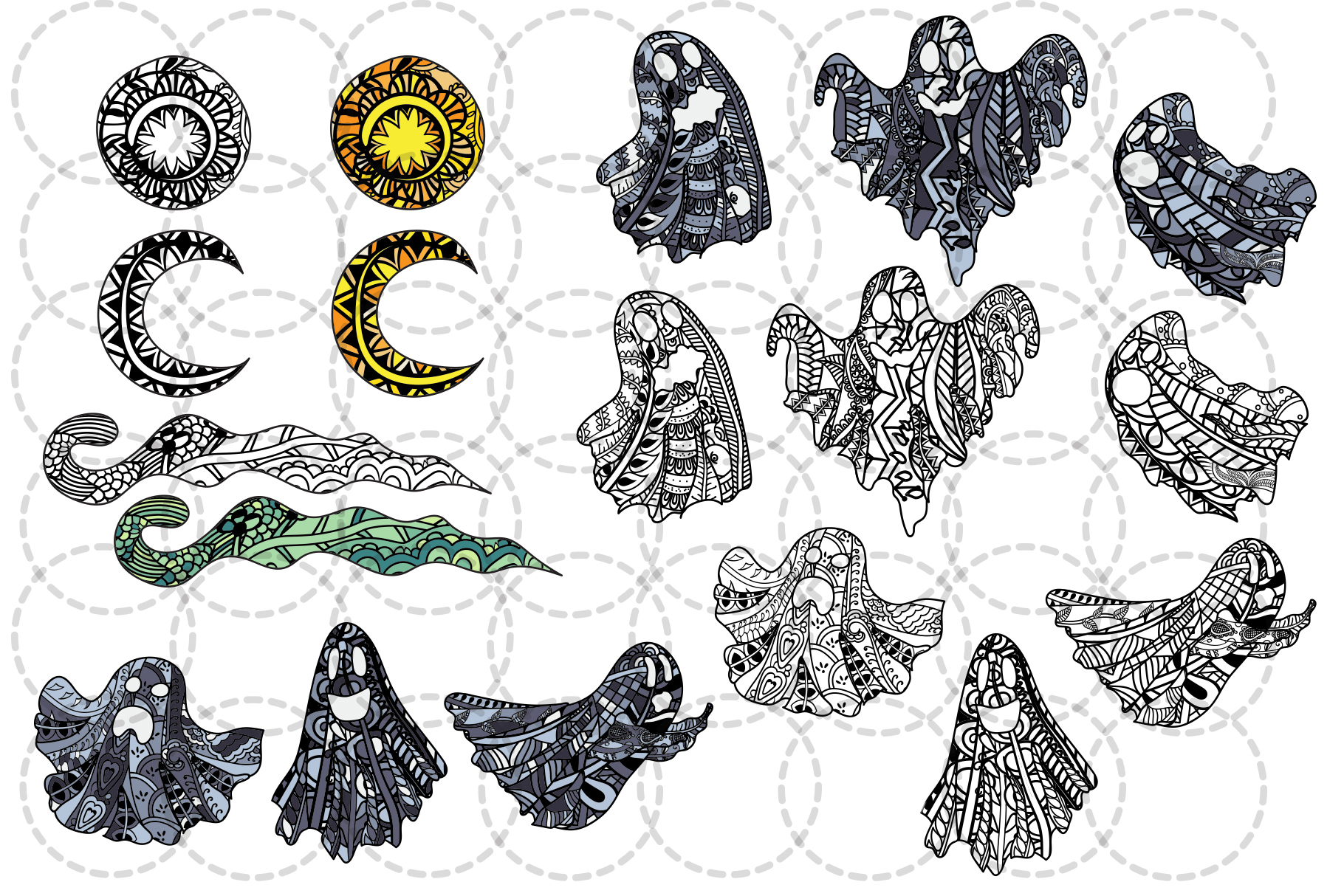 Halloween coloring illustrations example image 4