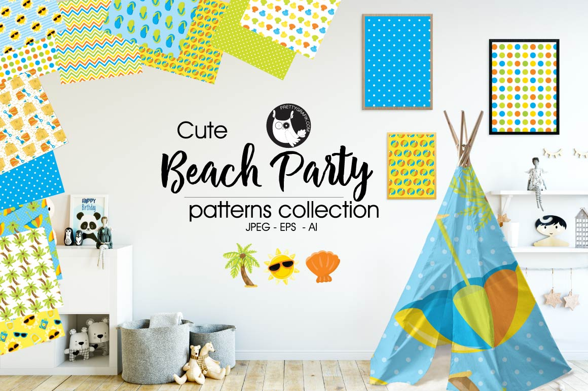 Beach-party, digital papers example image 1