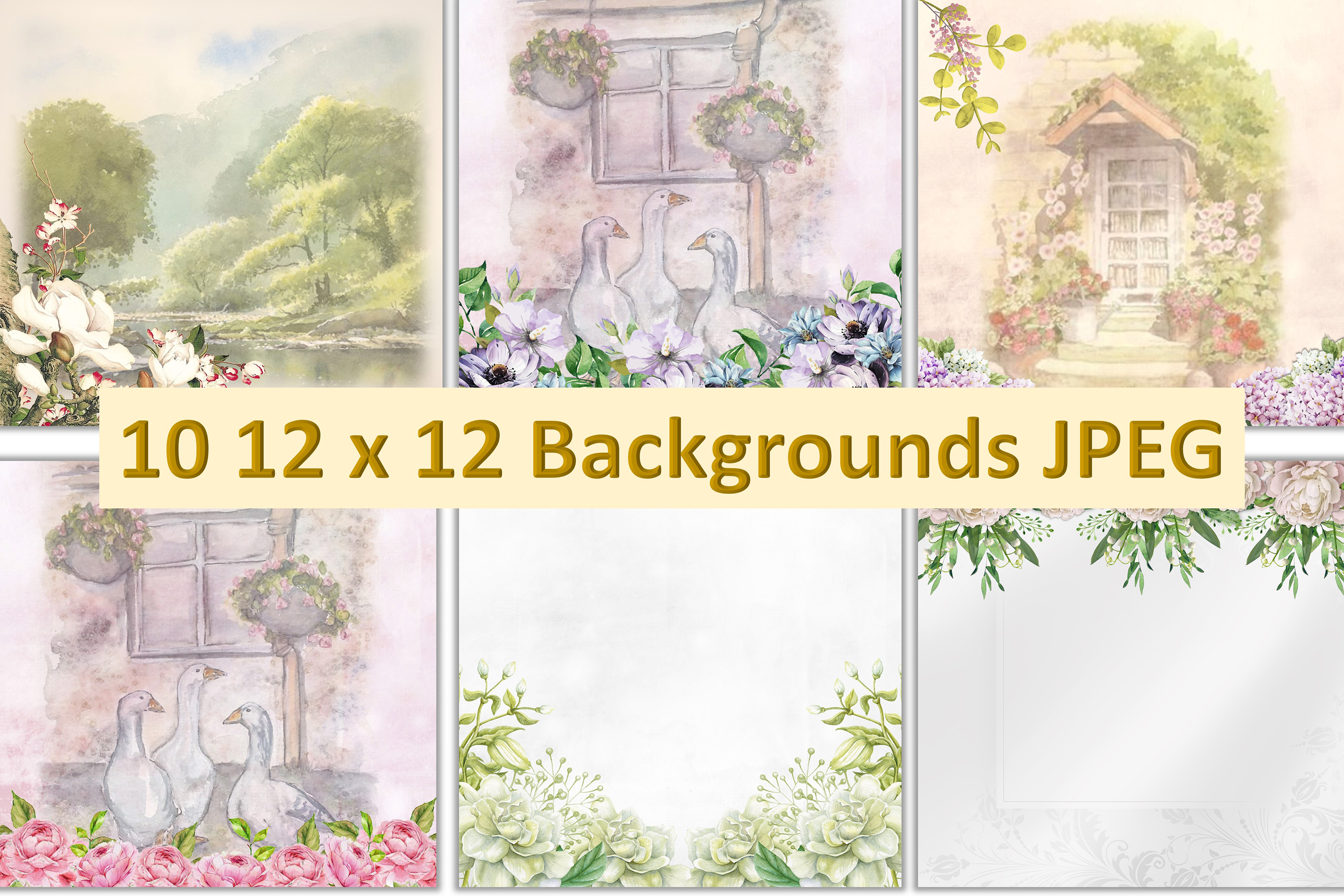 Water colour clipart bundle 120 pieces Commercial Use example image 3