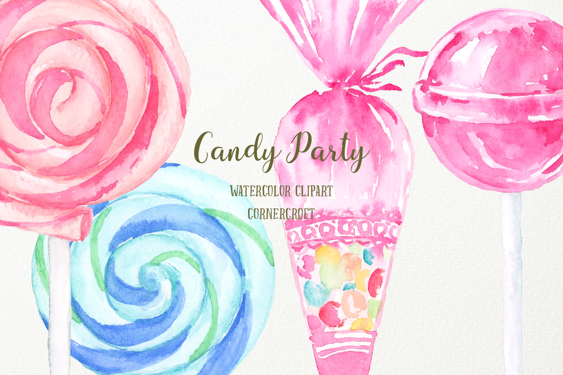 Watercolor Candy Party Clip Art  example image 5
