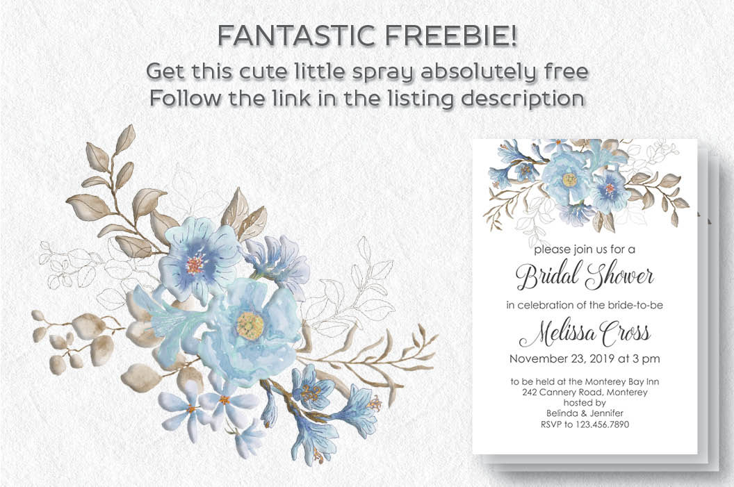 Powder blue watercolor floral patterns example image 5