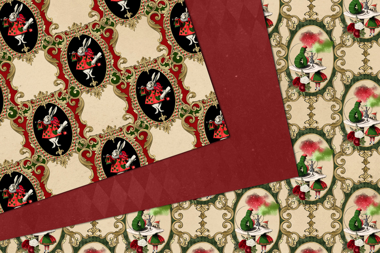 Christmas Alice In Wonderland Digital Paper example image 3