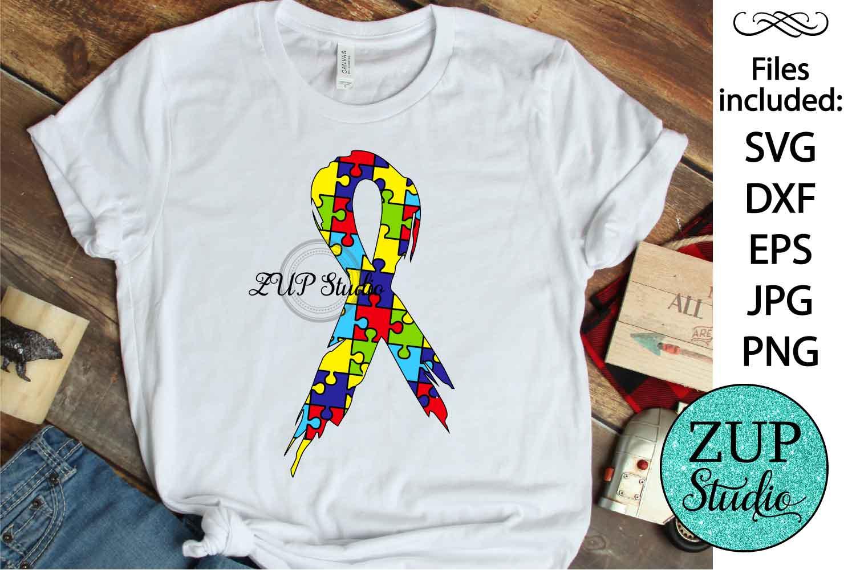 Autism Awareness Ribbon svg design 461 example image 1