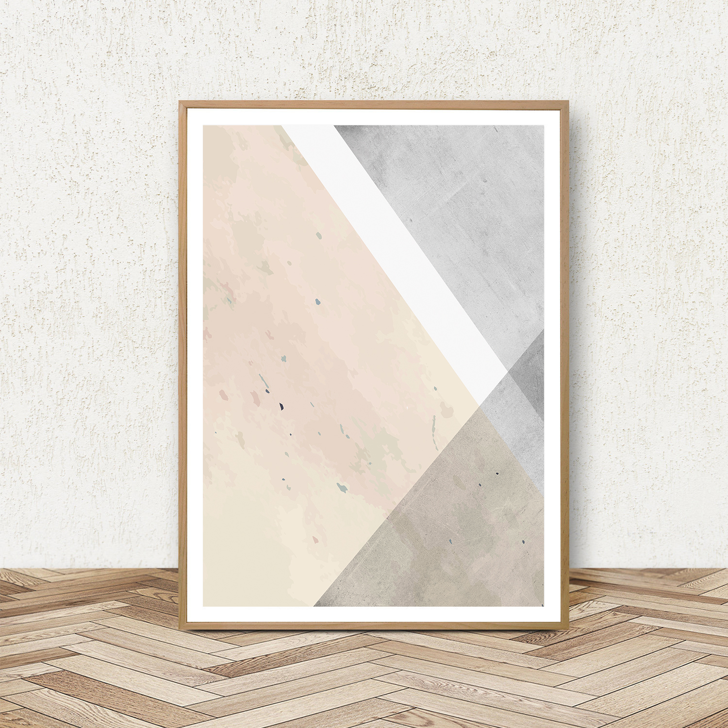 Geometric Wall Art, Set of 3 Prints, Pink and Grey Wall Art example image 3