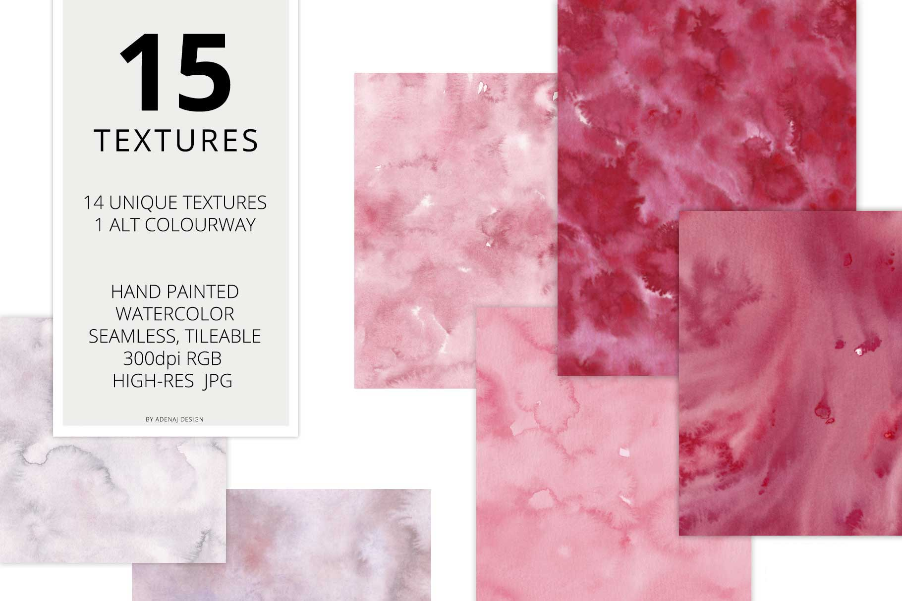 15 Huge Seamless Pink & Grey Watercolor Textures example image 2