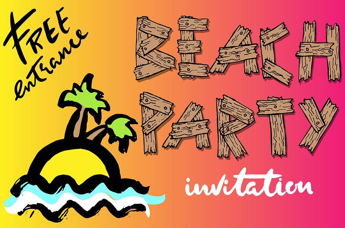 Summer old wooden font example image 6