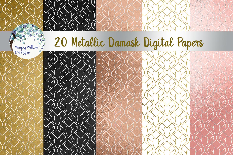 Metallic Damask Digital Paper Set example image 2
