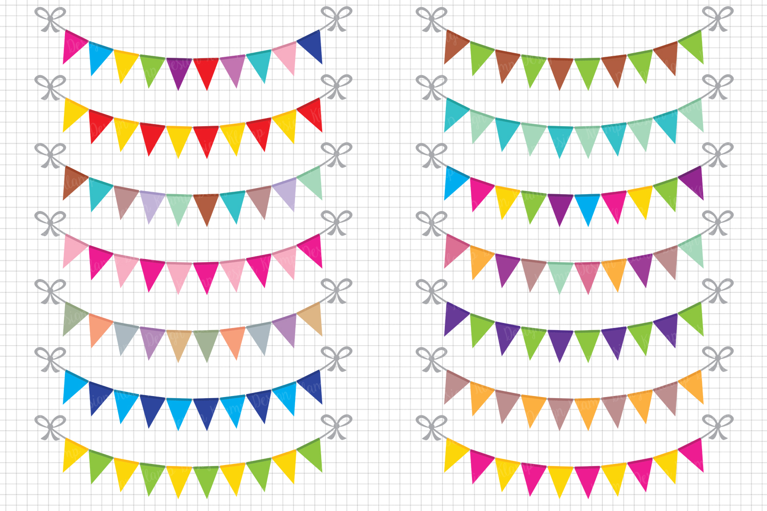 Bunting Banners Clipart / Party Bunting, Banner Clipart, Banner Flag Clipart, Party Banners, Holiday Bunting example image 1