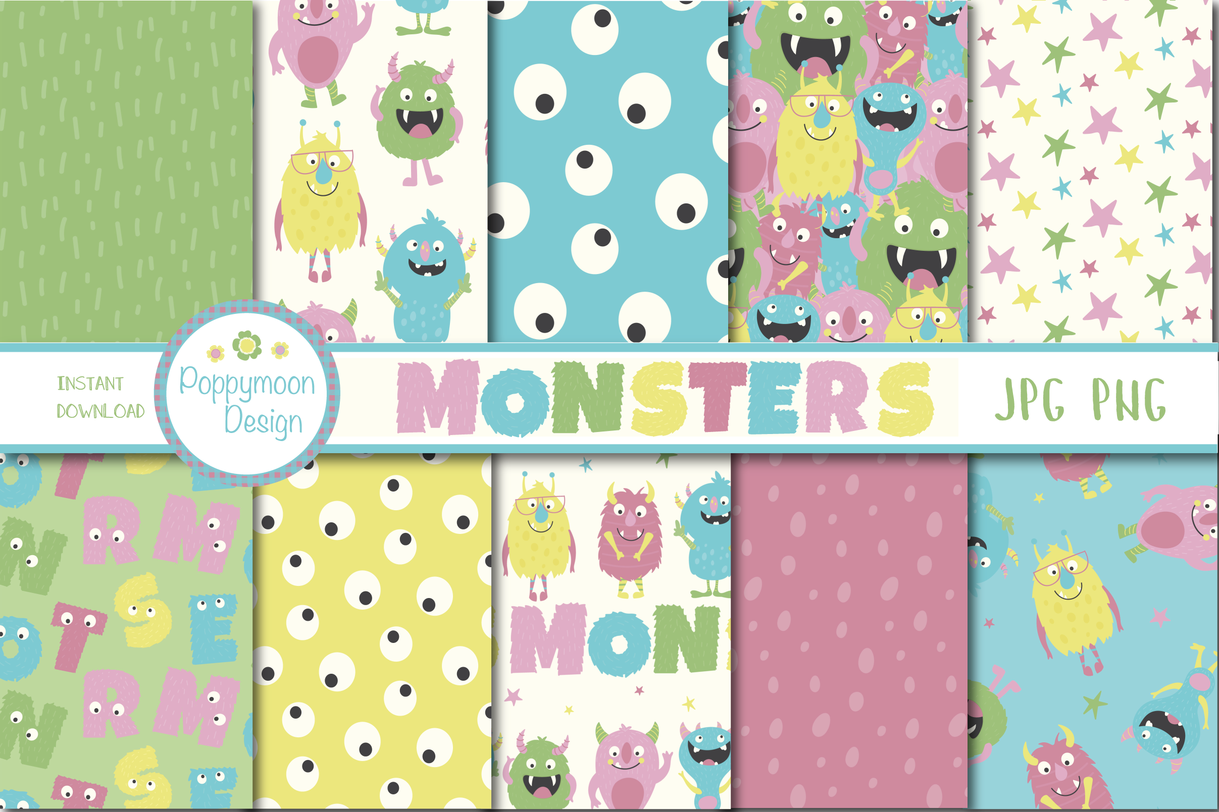 Monsters clipart and paper pack example image 3