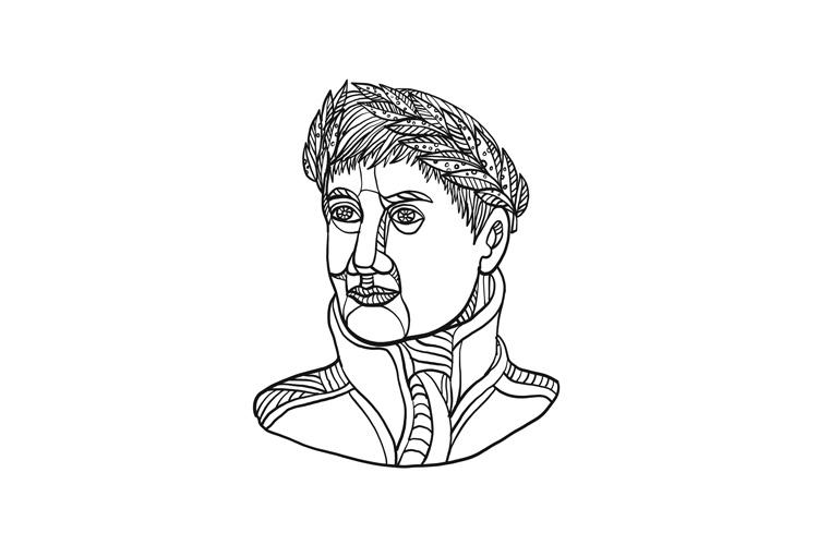 Emperor Wearing Laurel Leaf Mono Line example image 1