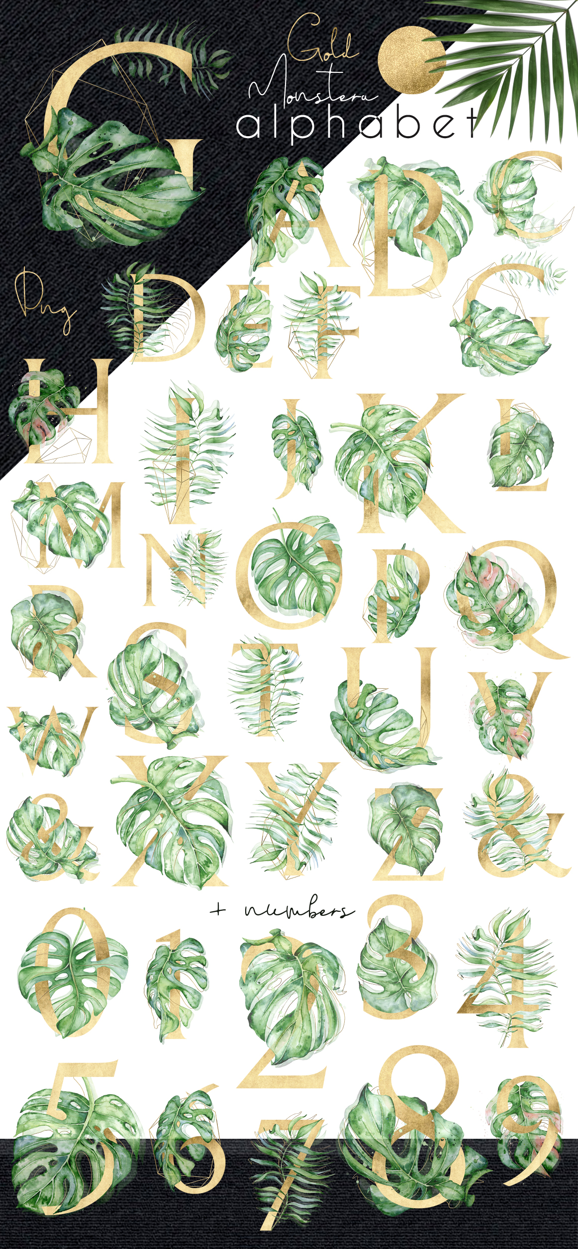 Gold Monstera - tropical leaves alphabet example image 7