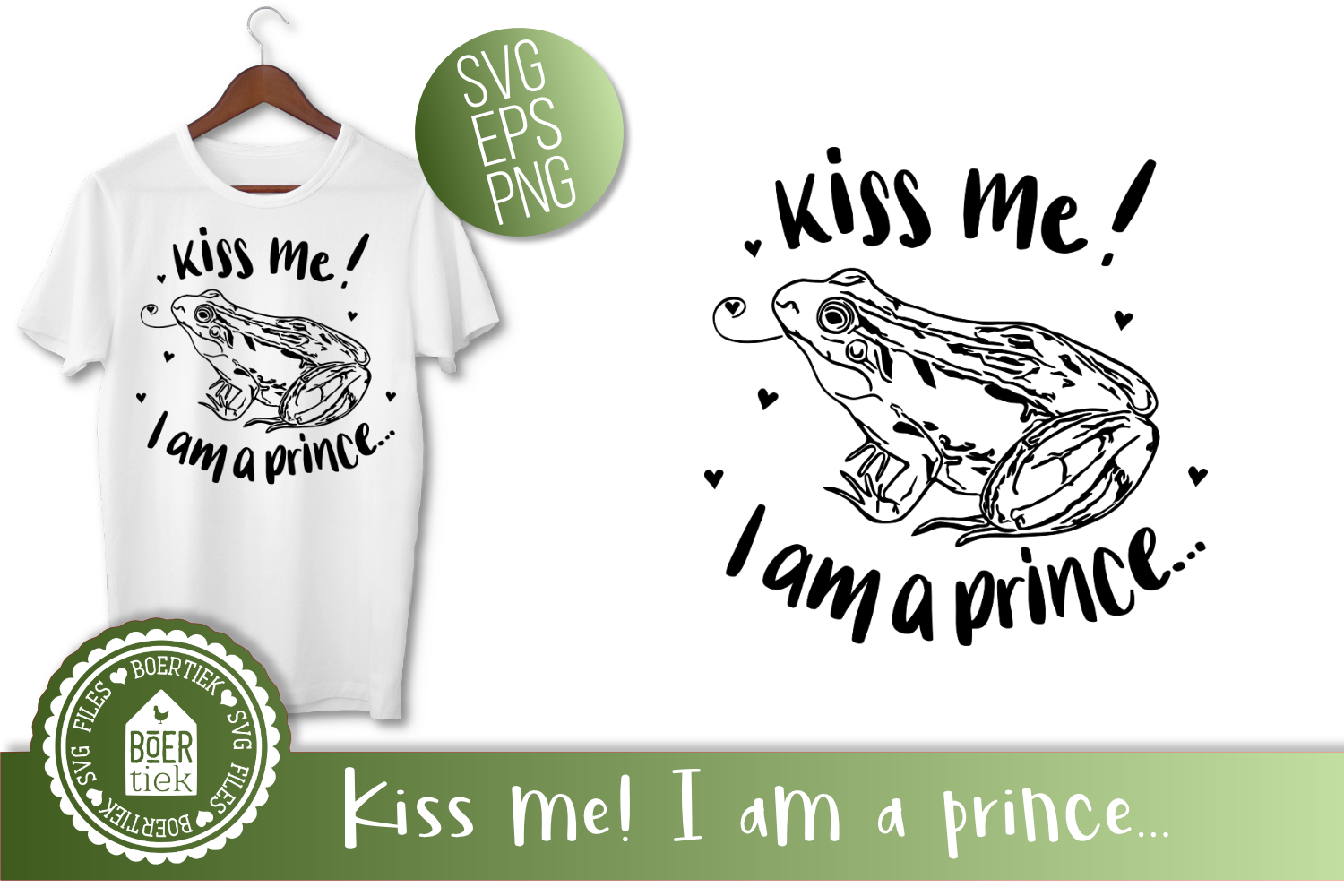 Frog - Kiss me! I am a prince, SVG cutting file example image 2