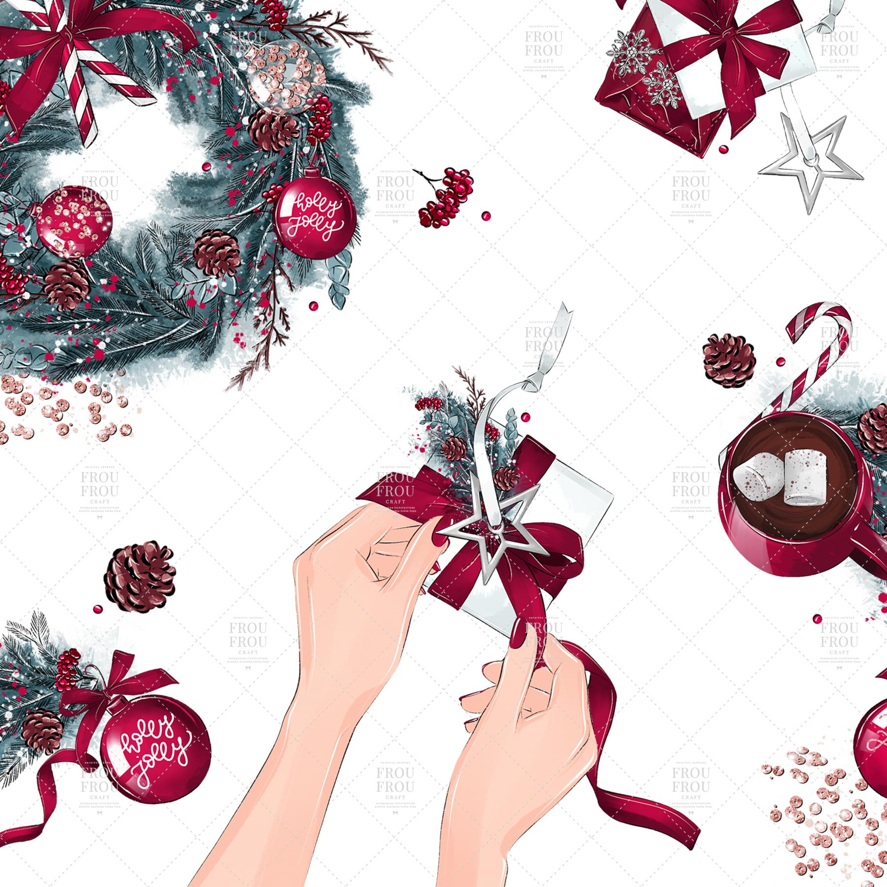 Christmas Tree Winter Present Gift Cozy Clip Art example image 3