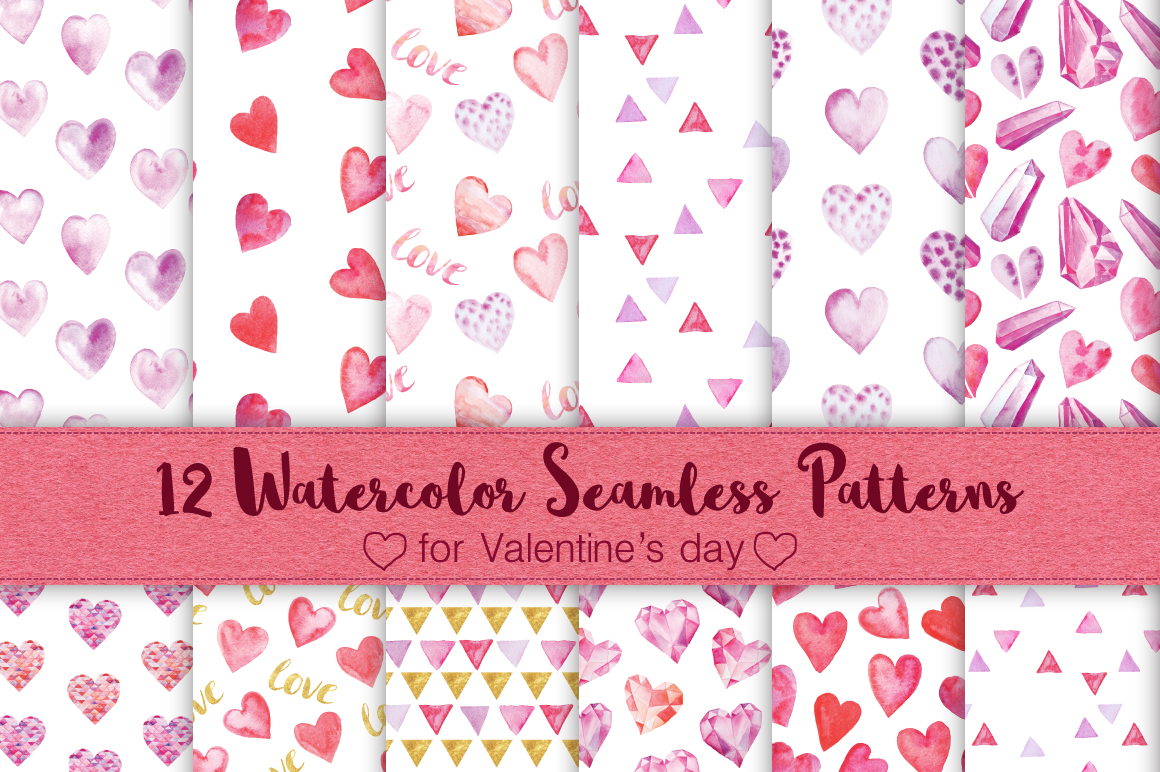 12 Watercolor Valentines Patterns example image 1