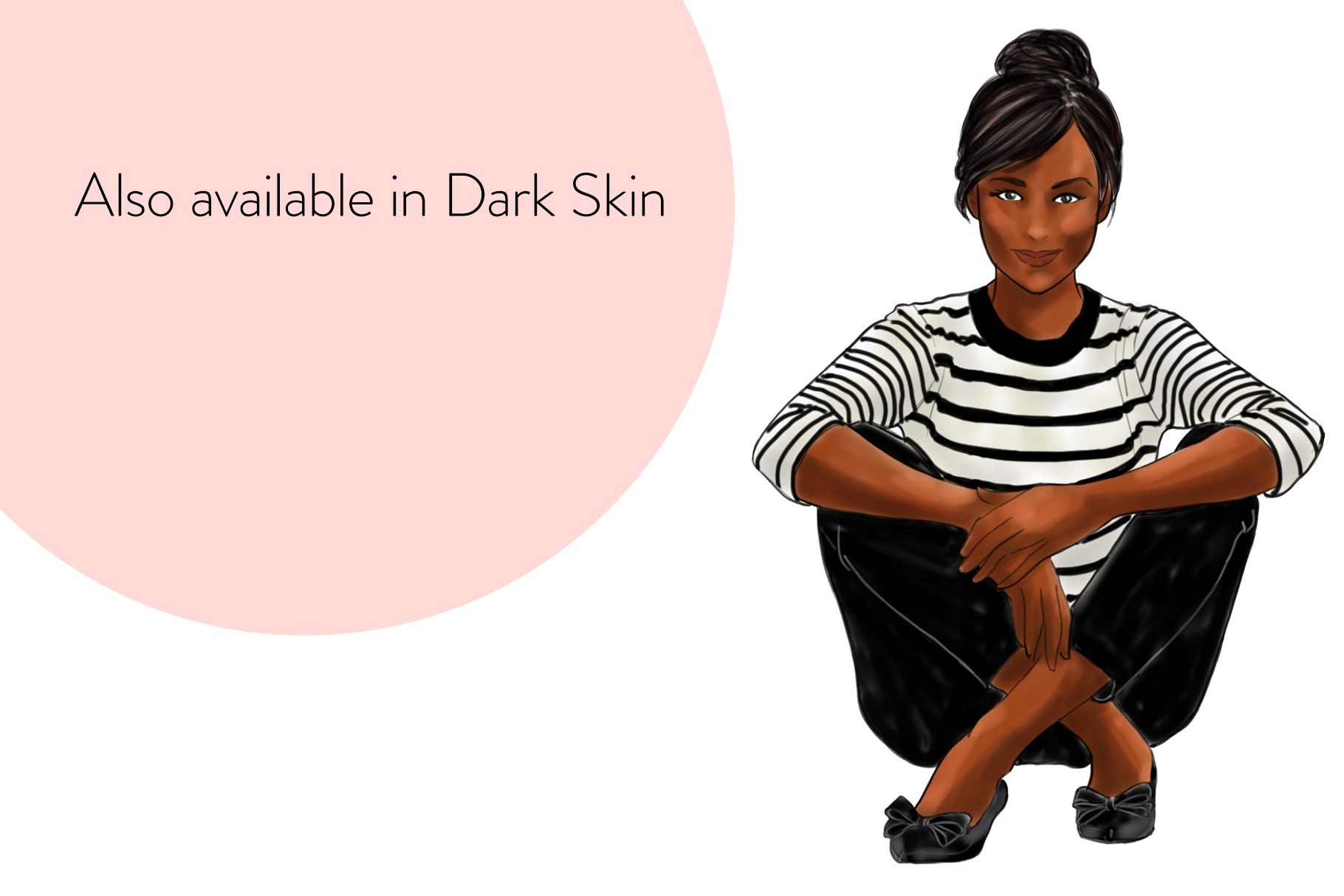 Fashion illustration - Girls in striped T - Light Skin example image 5