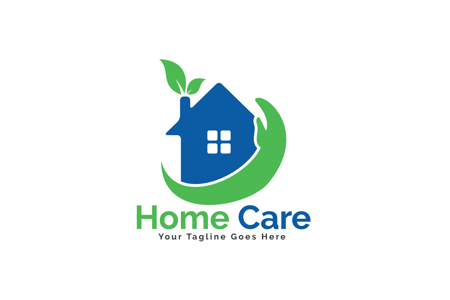 Home Care Logo Design House With Hand Vector Example Image 1