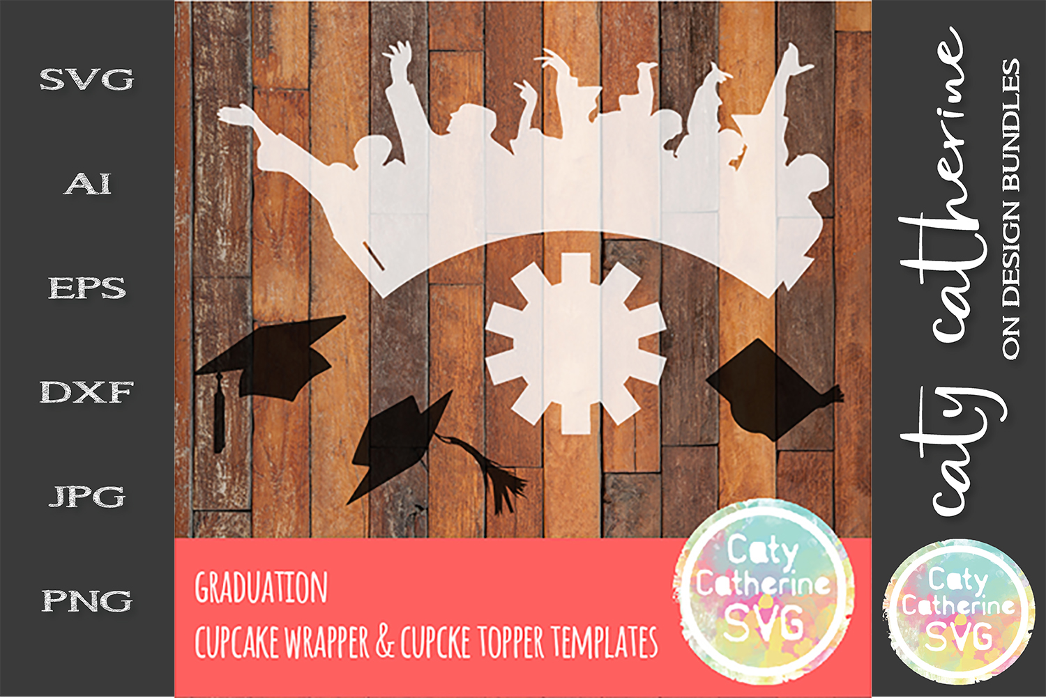 Graduation Cupcake Wrapper & Topper SVG Templates example image 1
