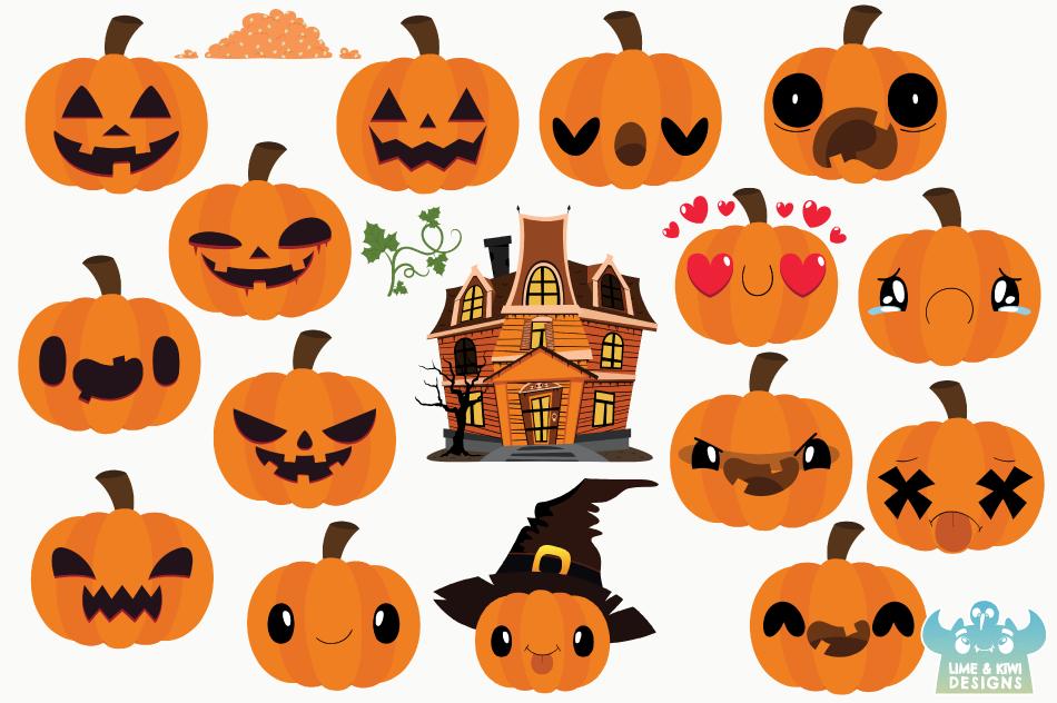 Halloween Pumpkin Vector Art.Halloween Pumpkins Clipart Instant Download Vector Art