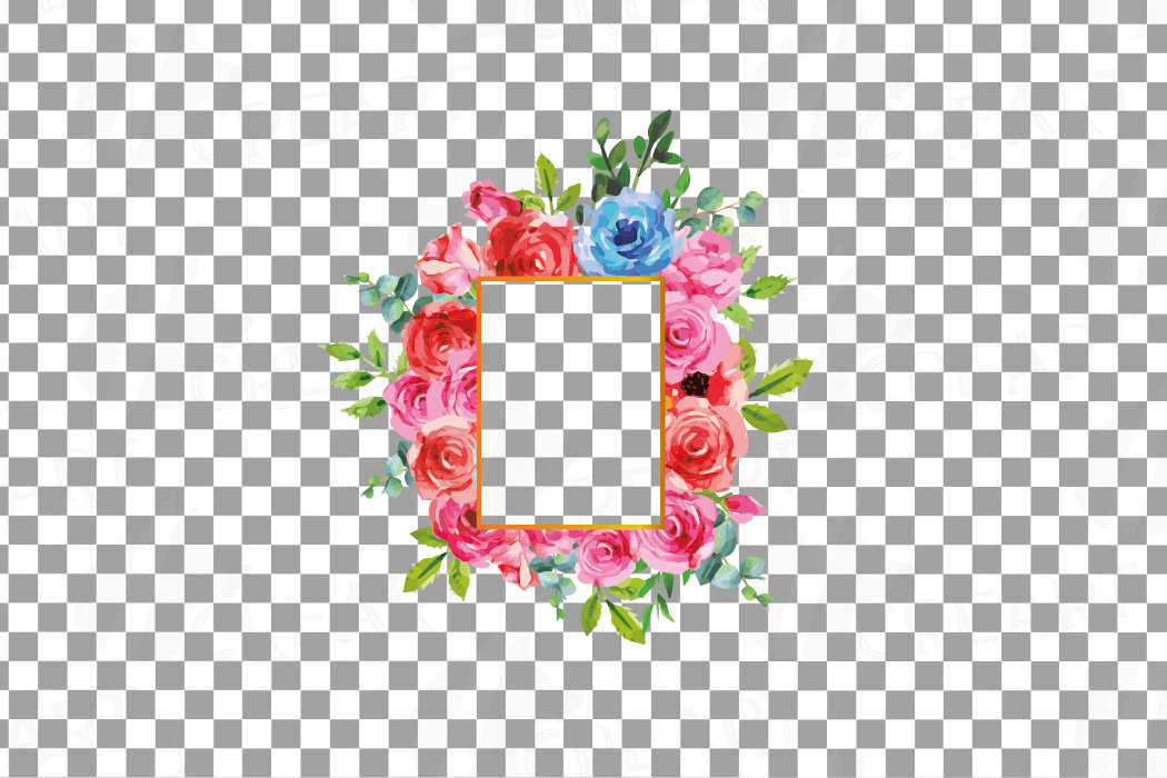 Boho pink and blue floral frames watercolor clip art pack example image 18
