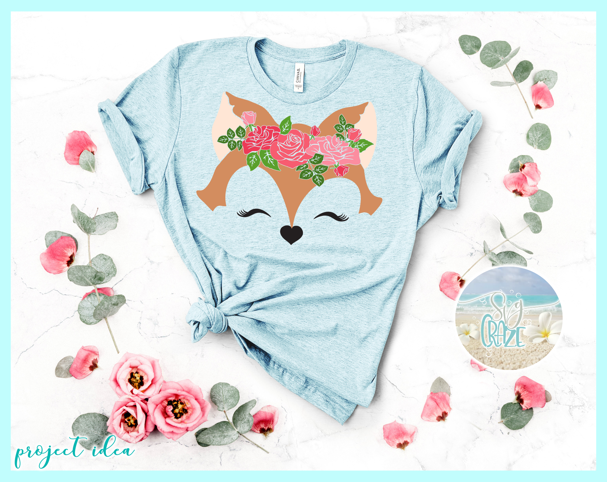 Fox Face with Roses Svg Dxf Eps Png Pdf Files example image 2