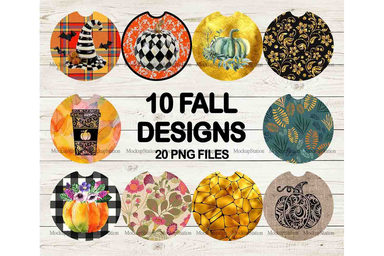 Fall Car Coaster Sublimation Template Bundle, Halloween PNG example image 1