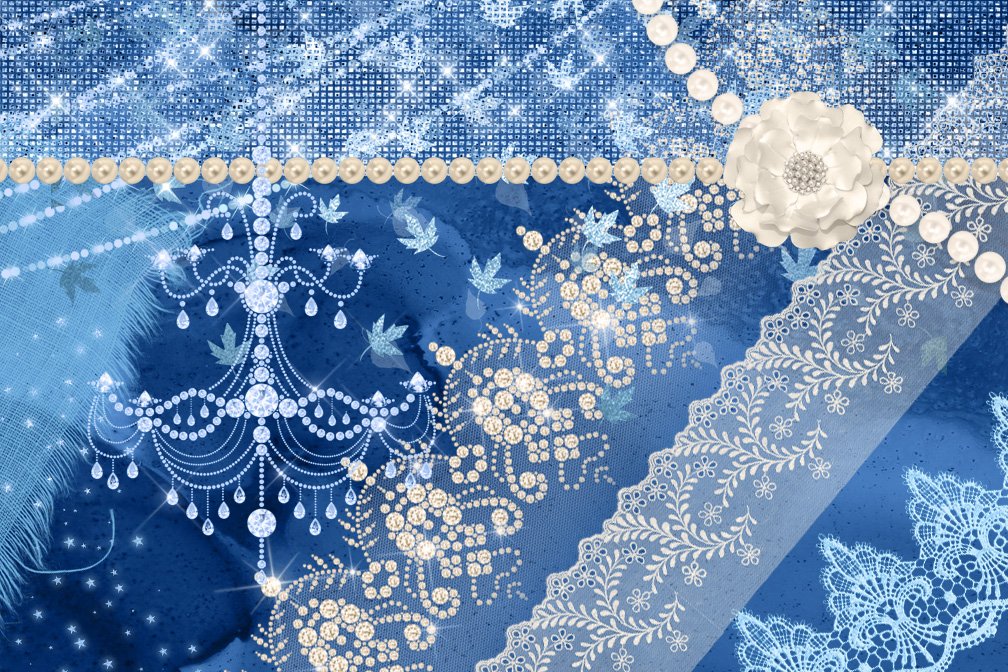 Pale Blue and Pearl Digital Scrapbooking Kit example image 2