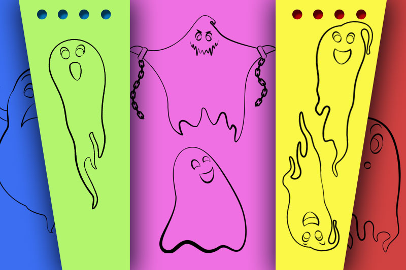 Ghosts outline vector set for halloween decoration. example image 2
