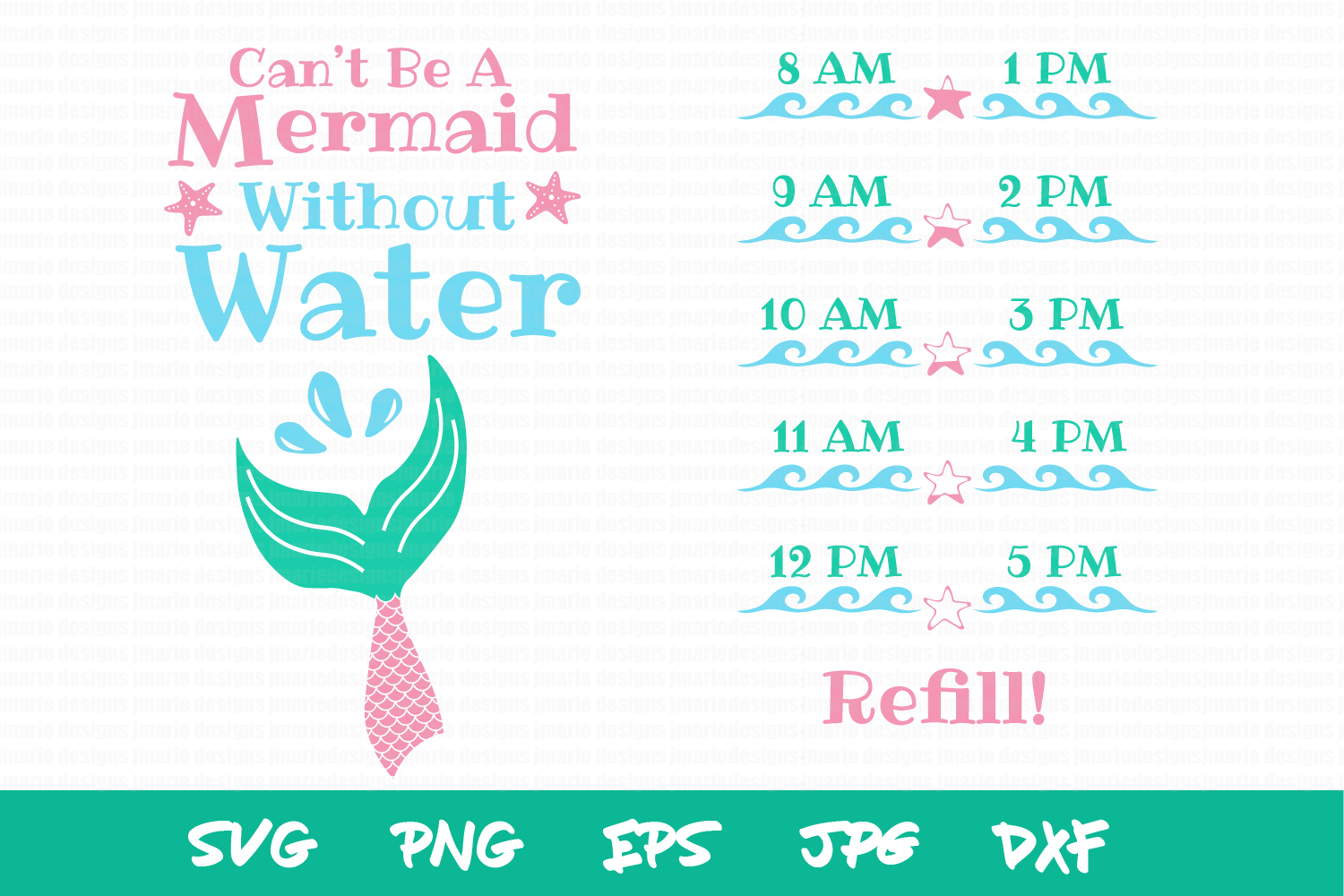 Mermaid SVG, waterbottle SVG, Kids SVG files, sublimation example image 2