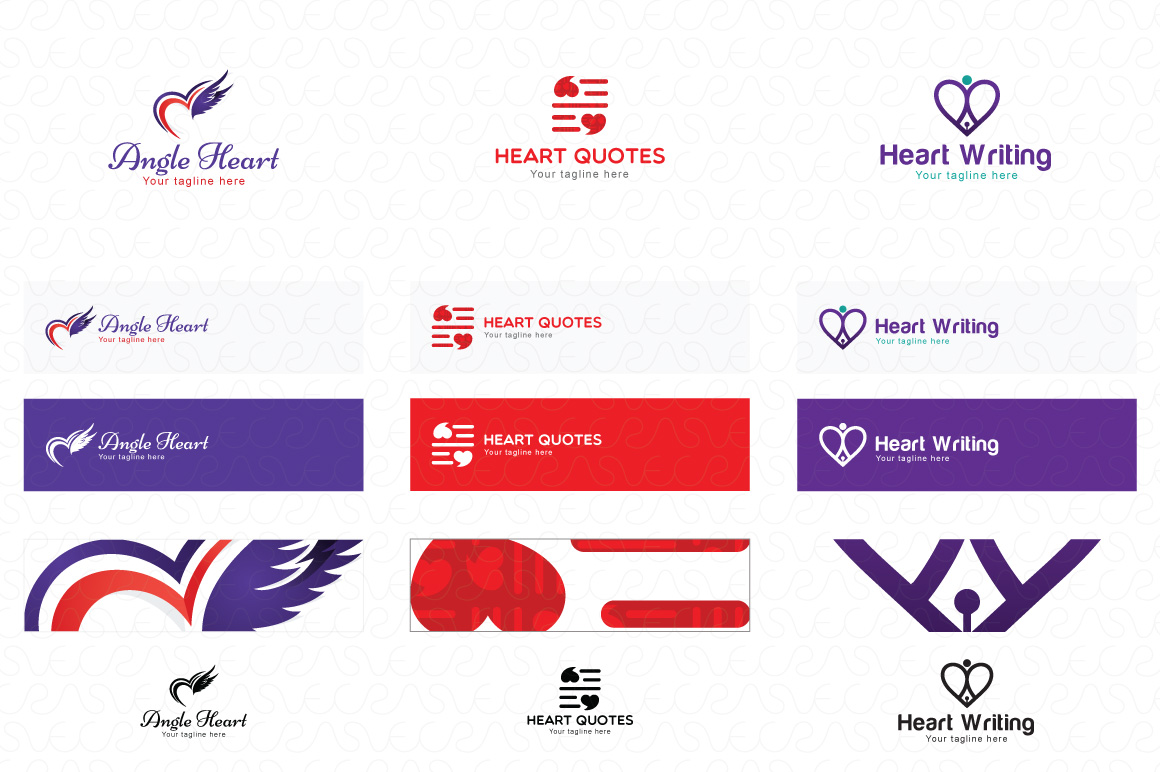 Heart Shape & Love Symbol Logo Templates Pack of 32 example image 10