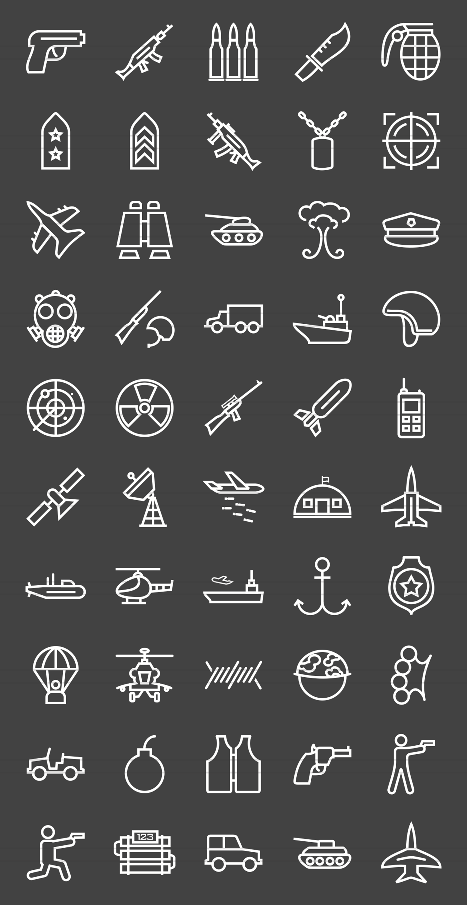 50 Military Line Inverted Icons example image 2