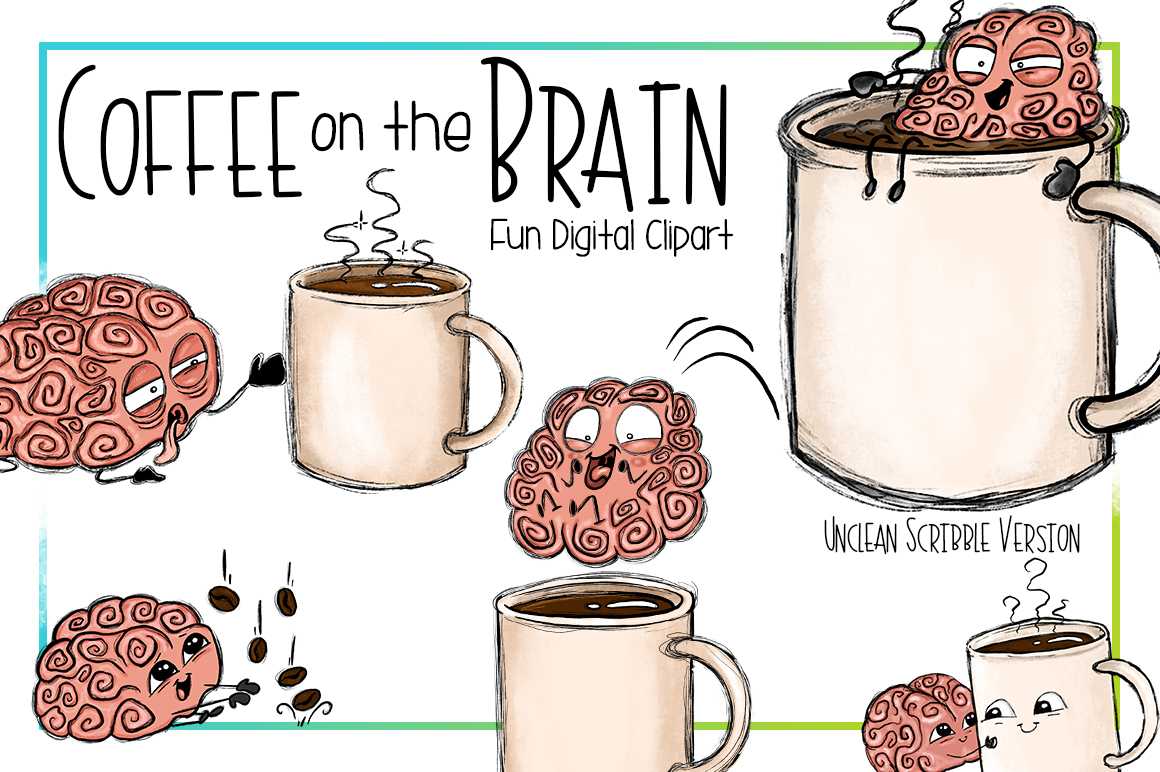 Coffee on the Brain | Funny Coffee Brain Clipart example image 3
