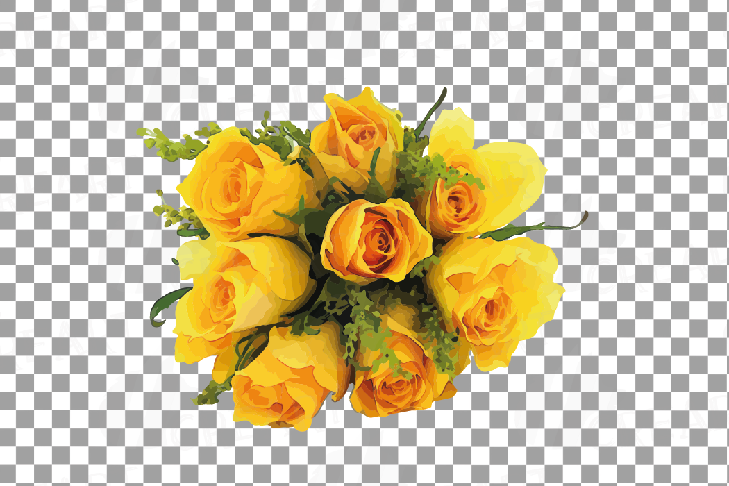 Watercolor yellow flowers and green leaves clip art pack example image 12
