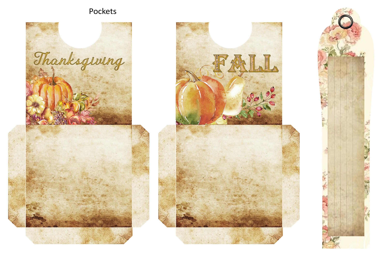 Fall Autumn Harvest Journaling kit with free ephemera CU example image 6