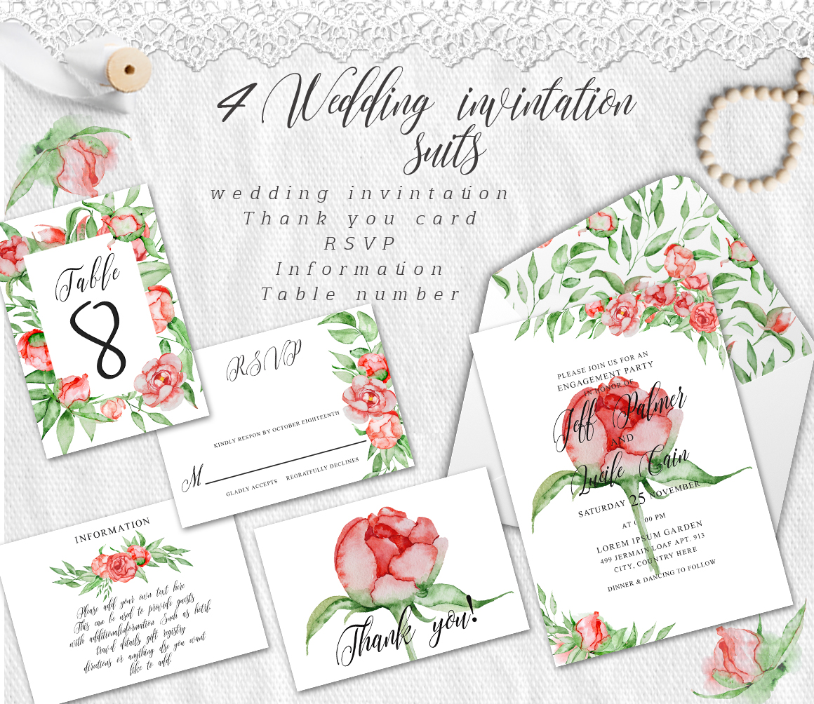 Watercolor peonies romantic floral clipart example image 18