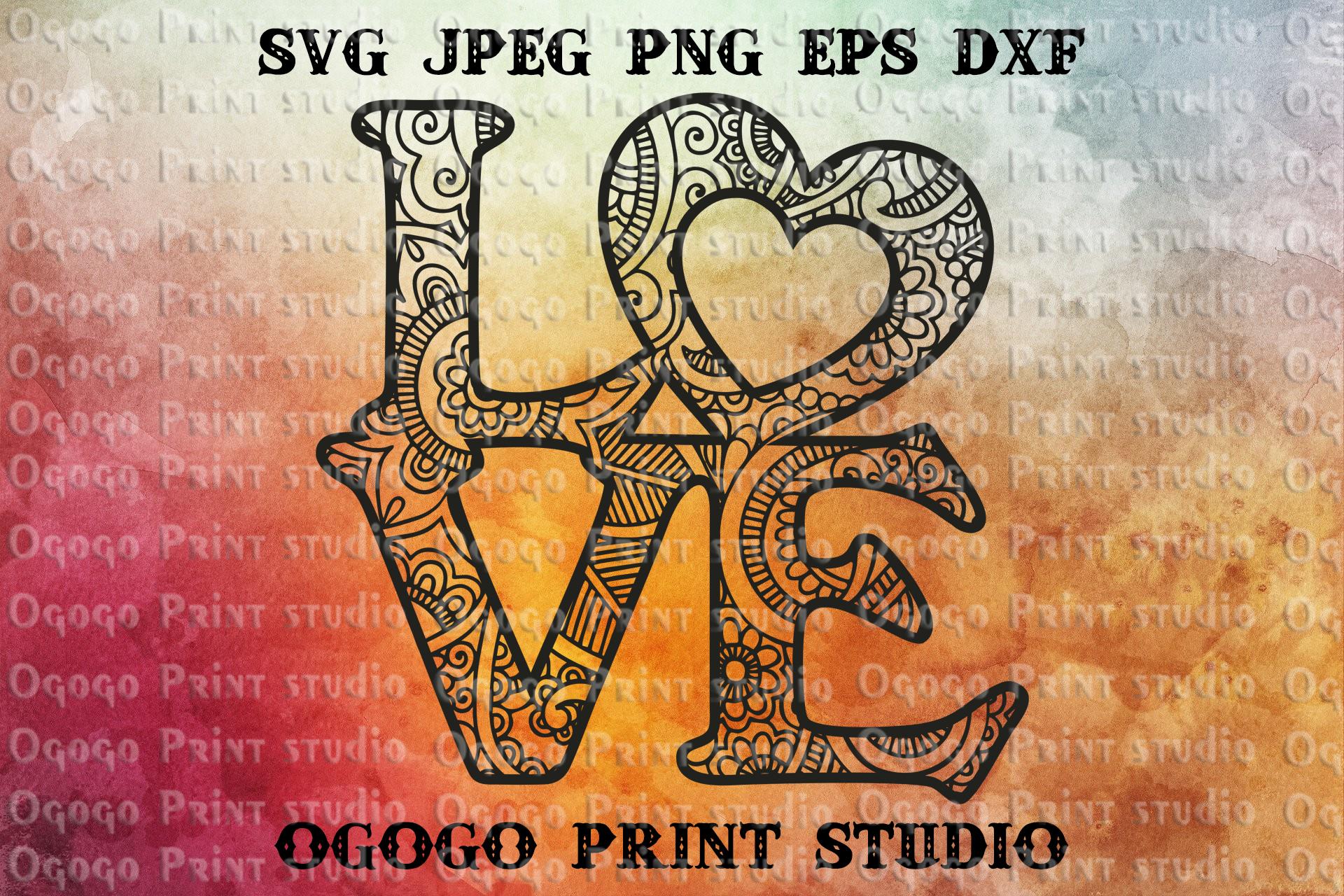 Love svg, Valentines day SVG, Heart SVG, Zentangle SVG example image 1