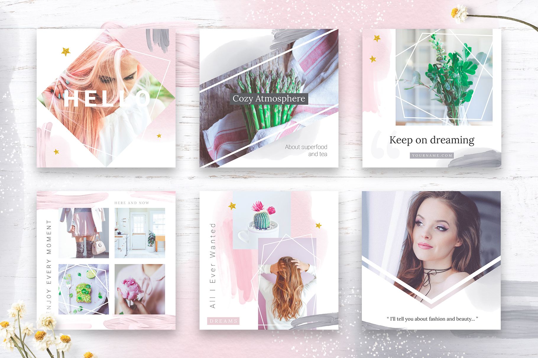 Instagram Watercolor Posts Pack example image 3