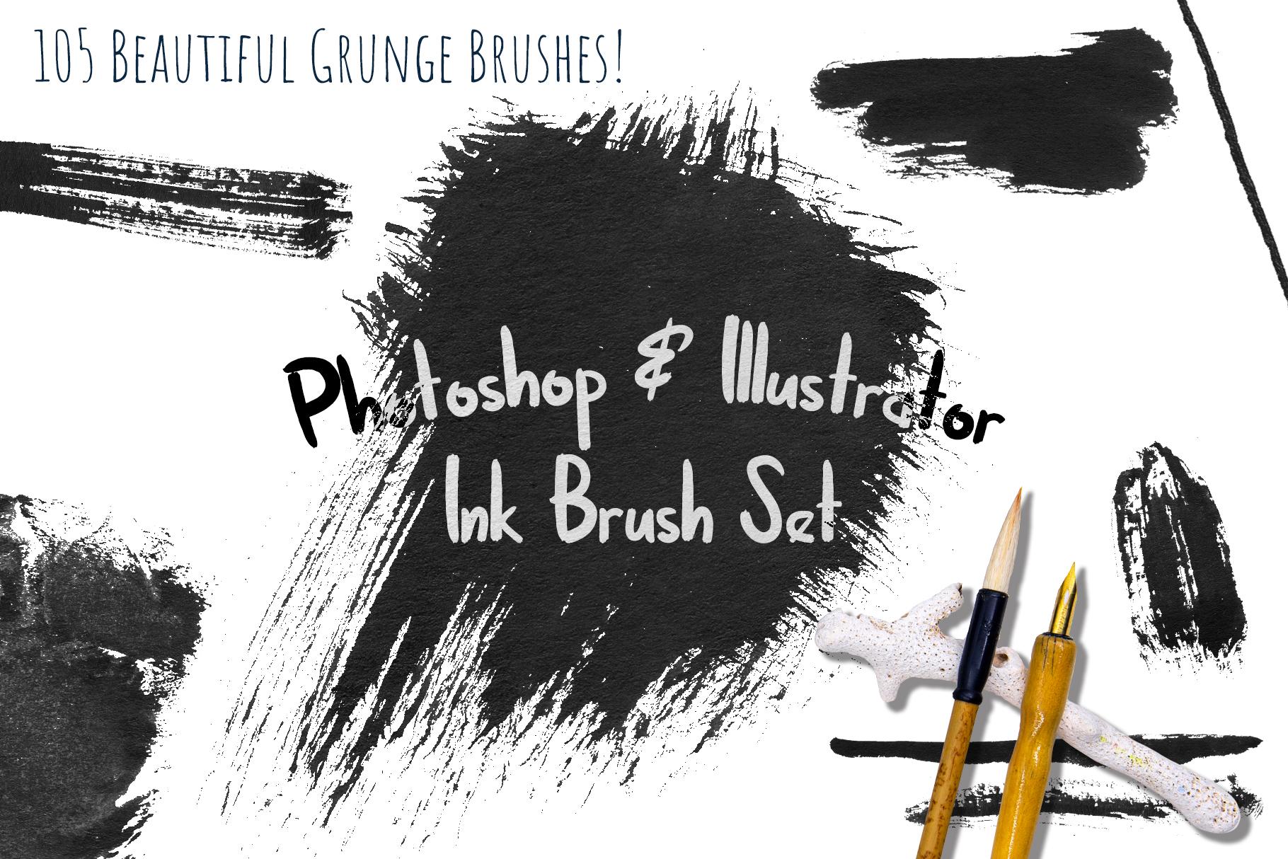 Black Ink Brushes for Adobe Photoshop and Adobe Illustrator example image 1