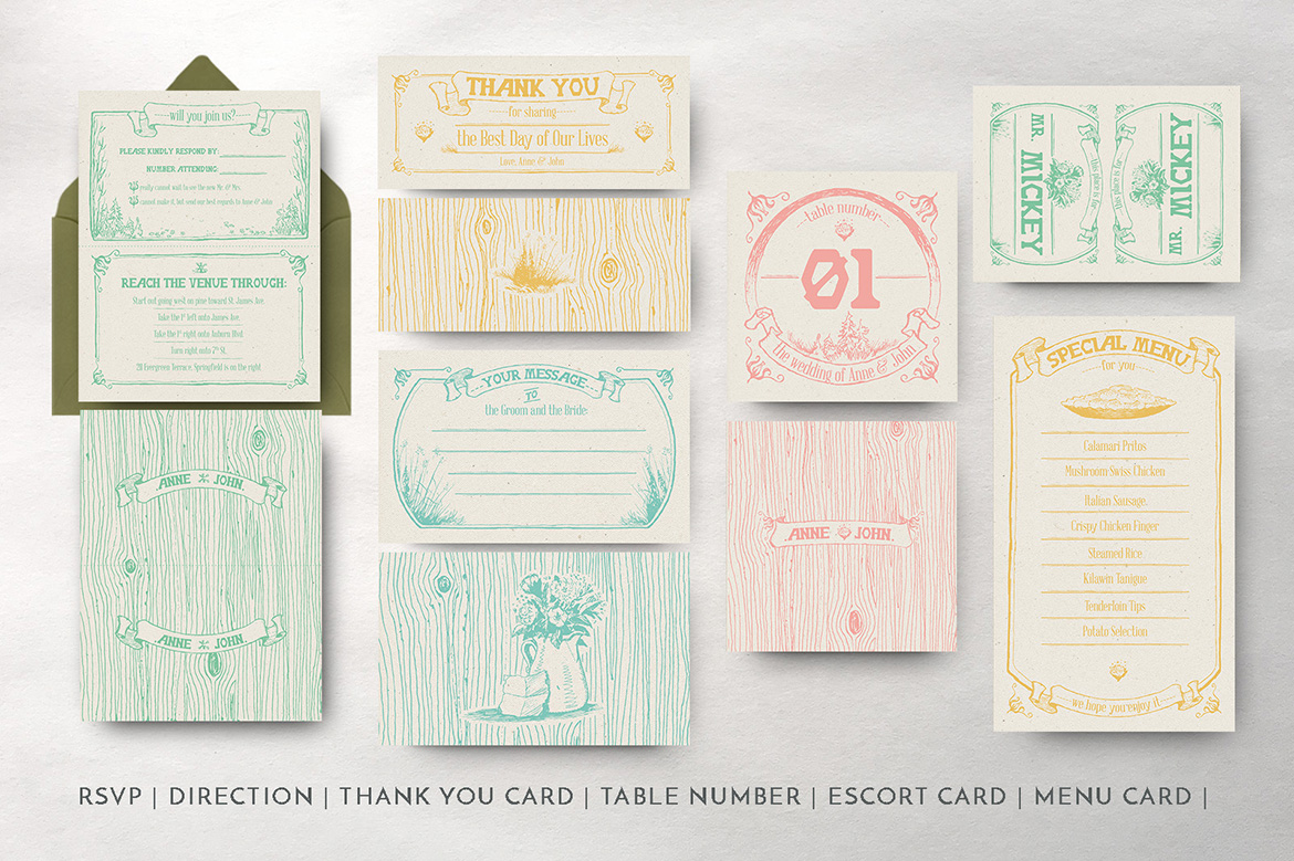 Whimsical Forest Wedding Invitation Suite example image 5