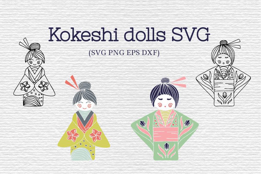 Japanese Kokeshi SVG example image 1