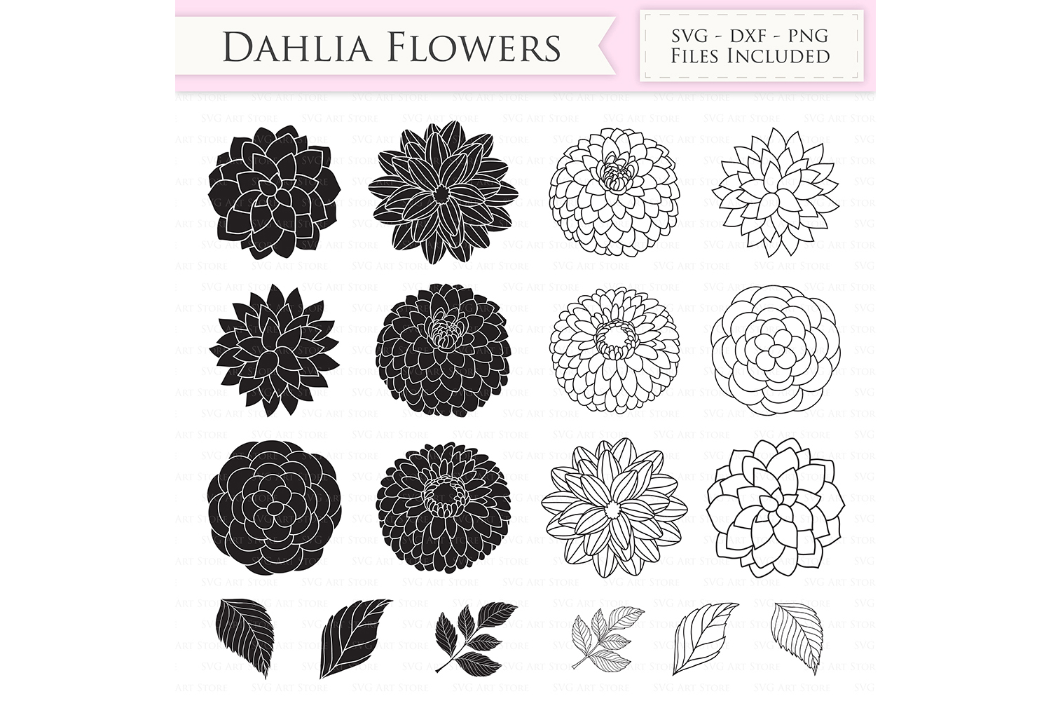 Dahlia Flowers SVG Files - Peony Flowers Outline,  Floral svg cutting files for Cricut and Silhouette - SVG, dxf, png included example image 2