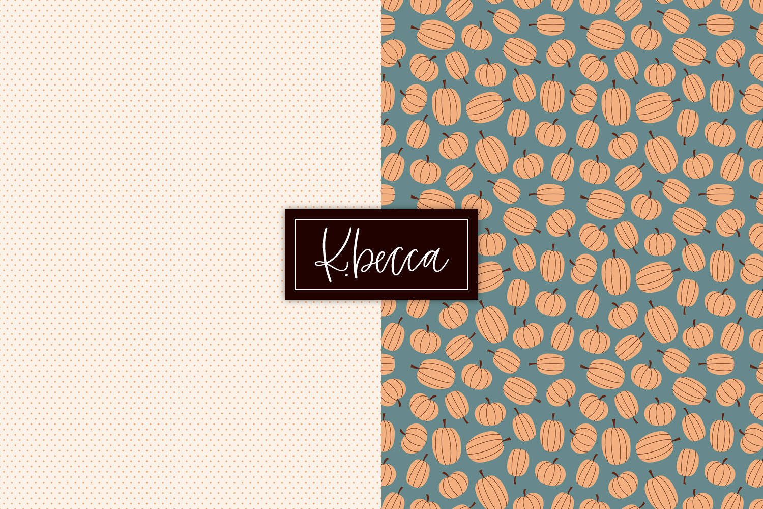 Fall Leaves & Pumpkins Background Patterns Seamless example image 5