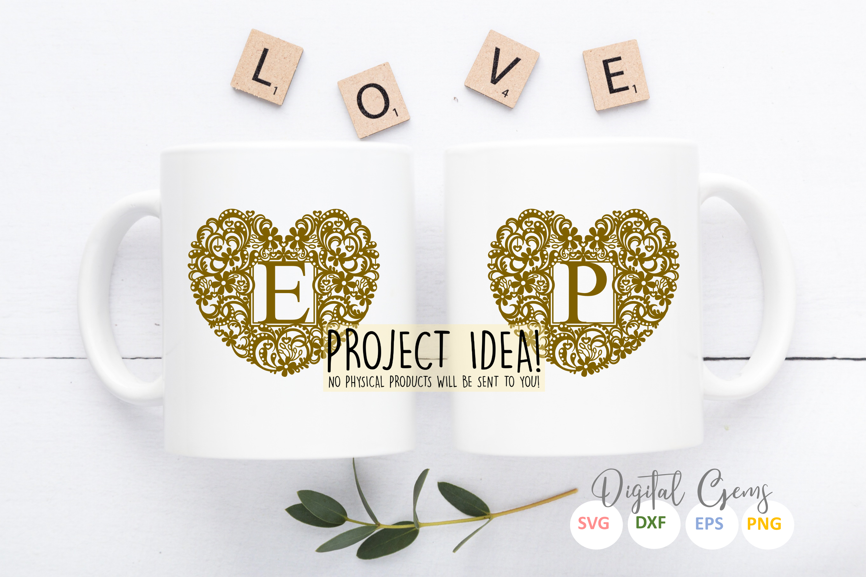 Full alphabet, heart paper cut Bundle. SVG / DXF / EPS / PNG example image 5