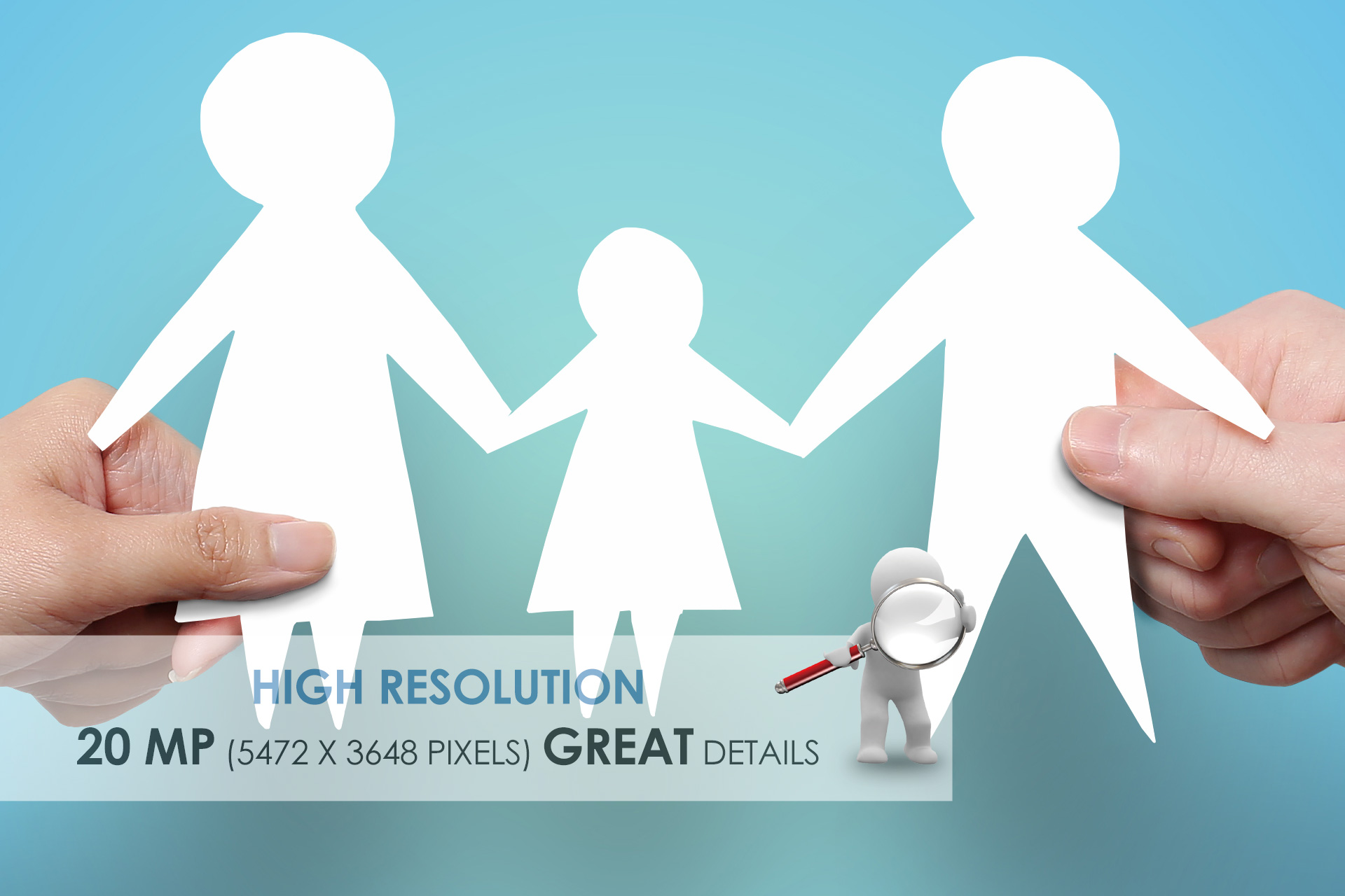 Hands Holding Family, Paper Cut Out - Stock Photo example image 2